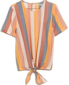 Madewell Sherbert Stripe Tie Front Button Back Top